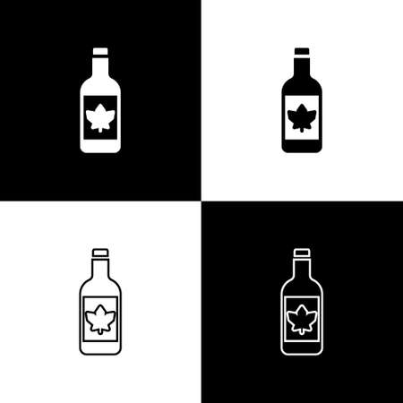Set Beer bottle icon isolated on black and white background. Vector