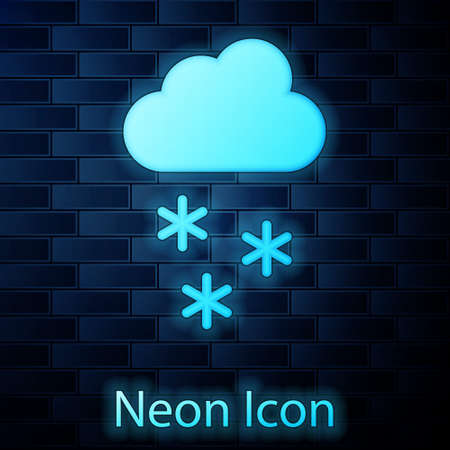 Glowing neon Cloud with snow icon isolated on brick wall background. Cloud with snowflakes. Single weather icon. Snowing sign. Vector