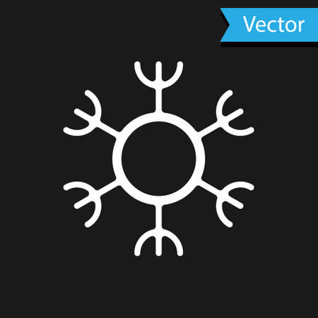 White Snowflake icon isolated on black background. Vector Ilustracja