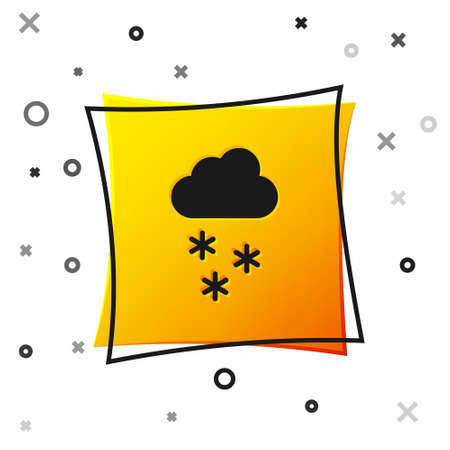 Black Cloud with snow icon isolated on white background. Cloud with snowflakes. Single weather icon. Snowing sign. Yellow square button. Vector