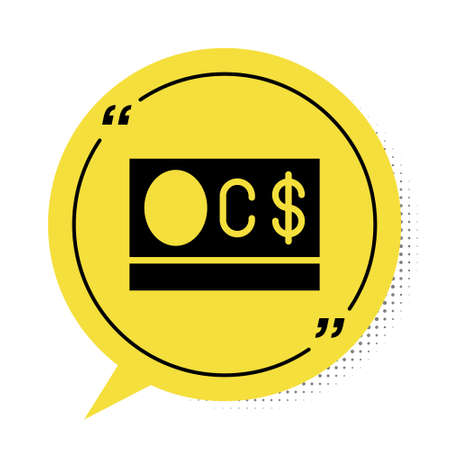 Black Canadian dollar currency symbol icon isolated on white background. Yellow speech bubble symbol. Vector Ilustracja