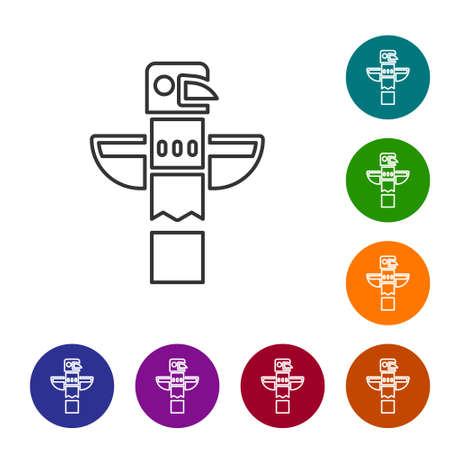 Black line Canadian totem pole icon isolated on white background. Set icons in color circle buttons. Vector