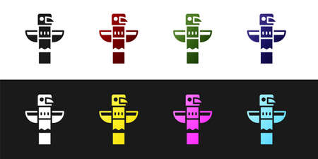 Set Canadian totem pole icon isolated on black and white background. Vector