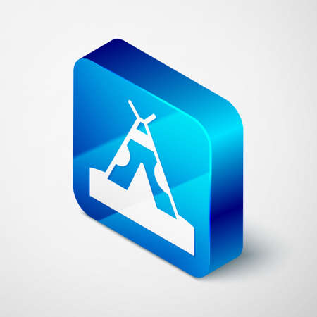 Isometric Traditional indian teepee or wigwam icon isolated on grey background. Indian tent. Blue square button. Vector