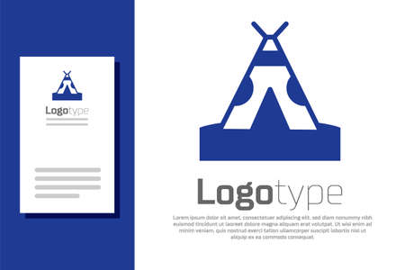 Blue Traditional indian teepee or wigwam icon isolated on white background. Indian tent. Logo design template element. Vector