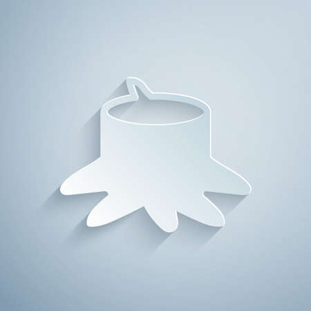 Paper cut Tree stump icon isolated on grey background. Paper art style. Vector Ilustracja