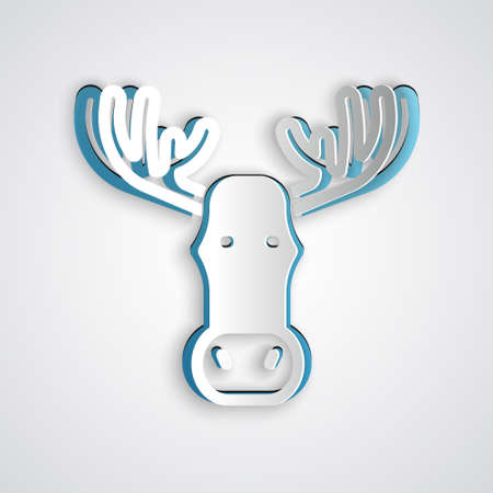 Paper cut Moose head with horns icon isolated on grey background. Paper art style. Vector Ilustracja