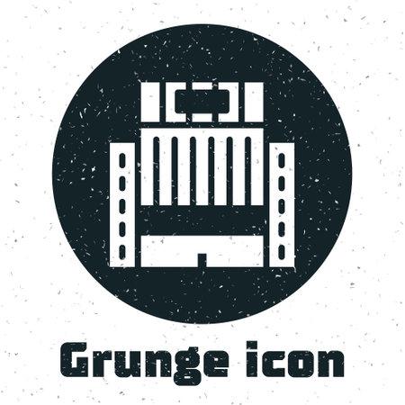 Grunge Hotel Ukraina building icon isolated on white background. Monochrome vintage drawing. Vector