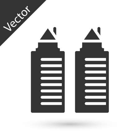 Grey Two tall residential towers in the Dnipro city icon isolated on white background. Vector