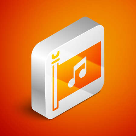 Isometric Music festival, access, flag, music note icon isolated on orange background. Silver square button. Vector
