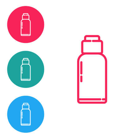 Red line Canteen water bottle icon isolated on white background. Tourist flask icon. Jar of water use in the campaign. Set icons in circle buttons. Vector Illustration