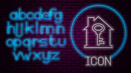 Glowing neon line House with key icon isolated on brick wall background. The concept of the house turnkey. Neon light alphabet. Vector
