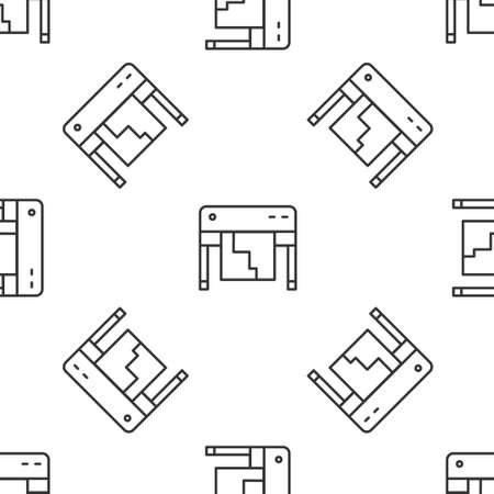 Grey line Plotter icon isolated seamless pattern on white background. Large format multifunction printer. Polygraphy, printshop service. Vector