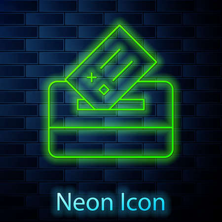Glowing neon line Vote box or ballot box with envelope icon isolated on brick wall background. Vector Stock Illustratie