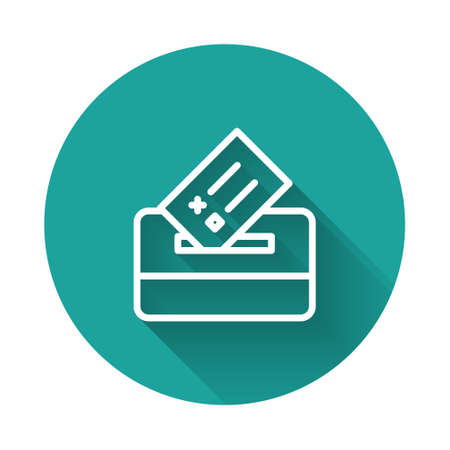 White line Vote box or ballot box with envelope icon isolated with long shadow. Green circle button. Vector Stock Illustratie
