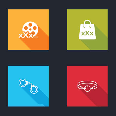 Set Film reel with Sex, Shopping bag triple X, Sexy fluffy handcuffs and Silicone ball gag icon. Vector Vettoriali