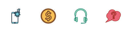 Set Mobile service, Coin money with dollar, Headphones and Speech bubble Question icon. Vector