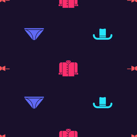 Set Man hat, Men underpants, T-shirt and Bow tie on seamless pattern. Vector
