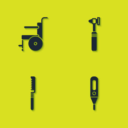 Set Wheelchair for disabled person, Medical digital thermometer, saw and otoscope tool icon. Vector