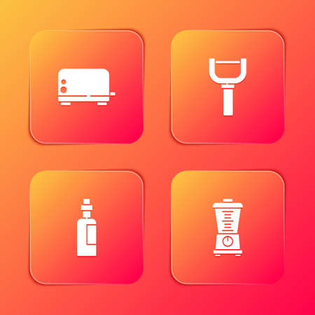 Set Toaster, Peeler, Bottle of olive oil and Blender icon. Vector Ilustracja