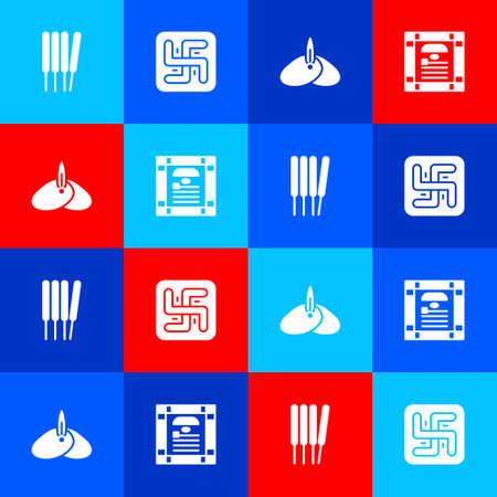 Set Aroma sticks, incense, Hindu swastika, Indian headgear turban and constitution day icon. Vector Ilustracja