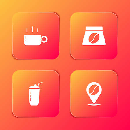 Set Coffee cup, Bag coffee beans, Milkshake and Location with icon. Vector Ilustracja