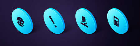 Set Isometric Police assault shield, Burning car, Baseball bat with nails and Handcuffs icon. Vector