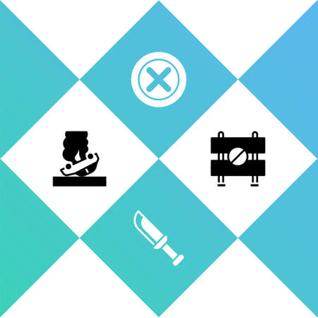 Set Burning car, Military knife, X Mark, Cross circle and Road barrier icon. Vector