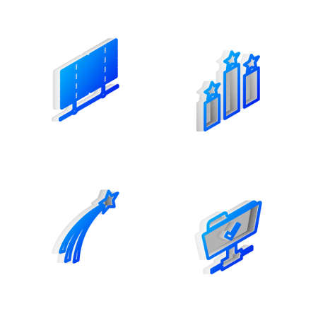 Set Isometric line Ranking star, Server, Data, Web Hosting, Falling and FTP operation successful icon. Vector