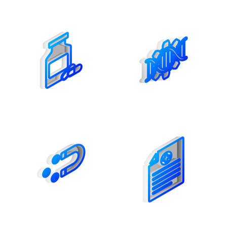 Set Isometric line Genetic engineering, Medicine bottle and pills, Customer attracting and Clinical record icon. Vector