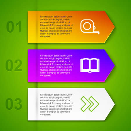 Set line Roulette construction, Open book, Arrow and Audio. Business infographic template. Vector Ilustracja