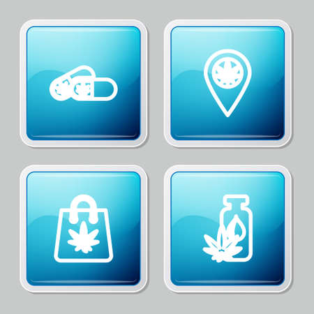 Set line Medical pills with marijuana, Location and, Shopping bag of and Marijuana or cannabis leaf oil icon. Vector