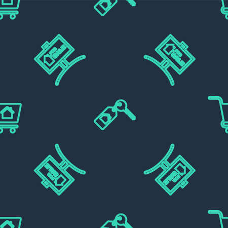 Set line House with key, Hanging sign For Sale and Shopping cart house on seamless pattern. Vector Ilustracja