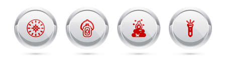 Set line Compass, Canteen water bottle, Campfire and Flashlight. Silver circle button. Vector