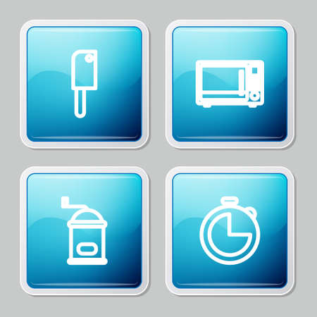 Set line Meat chopper, Microwave oven, Manual coffee grinder and Kitchen timer icon. Vector