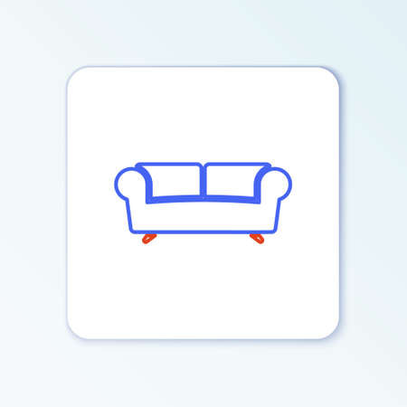 Line Sofa icon isolated on white background. Colorful outline concept. Vector