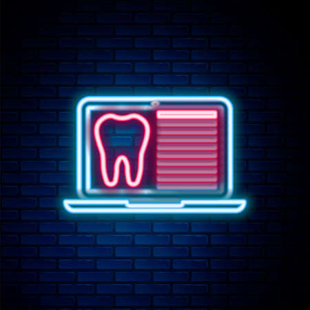 Glowing neon line Laptop with dental card or patient medical records icon isolated on brick wall background. Dental insurance. Dental clinic report. Colorful outline concept. Vector