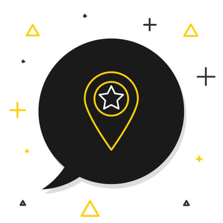 Line Map pointer with star icon isolated on white background. Star favorite pin map icon. Map markers. Colorful outline concept. Vector 矢量图像