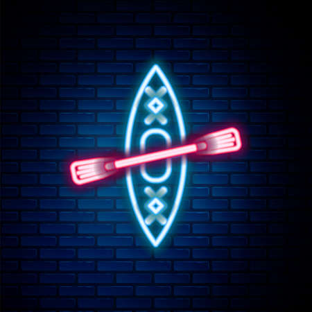 Glowing neon line Kayak and paddle icon isolated on brick wall background. Kayak and canoe for fishing and tourism. Outdoor activities. Colorful outline concept. Vector