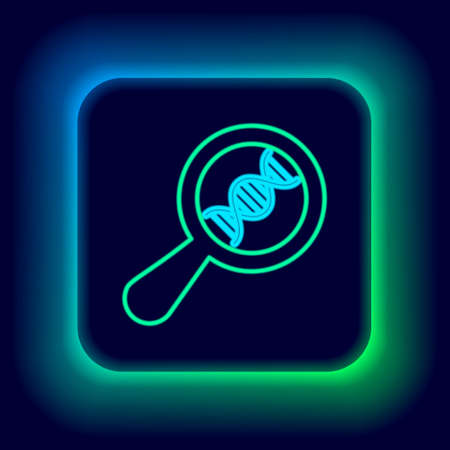 Glowing neon line DNA research, search icon isolated on black background. Magnifying glass and dna chain. Genetic engineering, cloning, paternity testing. Colorful outline concept. Vector