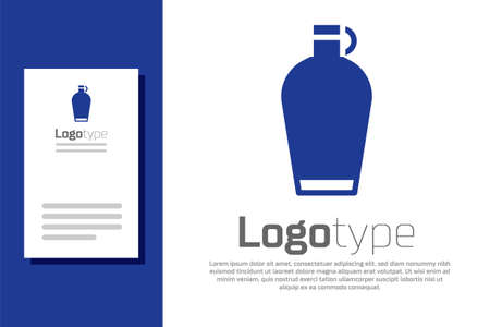 Blue Canteen water bottle icon isolated on white background. Tourist flask icon. Jar of water use in the campaign. Logo design template element. Vector Иллюстрация