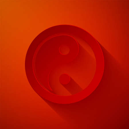 Paper cut Yin Yang symbol of harmony and balance icon isolated on red background. Paper art style. Vector Vector Illustration