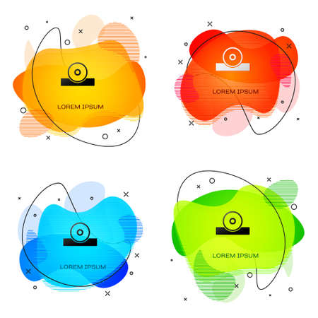 Black Otolaryngological head reflector icon isolated on white background. Equipment for inspection the patients ear, throat and nose. Abstract banner with liquid shapes. Vector Vector Illustration