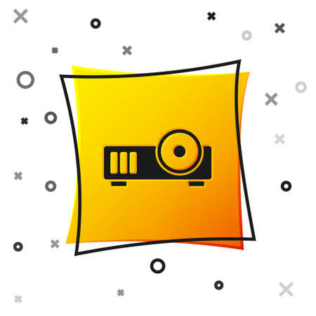 Black Presentation, movie, film, media projector icon isolated on white background. Yellow square button. Vector