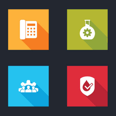 Set Telephone, Bioengineering, Project team base and Waterproof icon. Vector