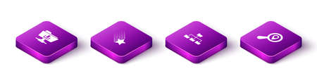 Set Isometric FTP folder download, Falling star, Folder tree and Search location icon. Vector