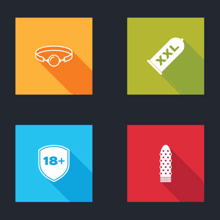 Set Silicone ball gag, Condom safe sex, Shield with 18 plus and Dildo icon. Vector