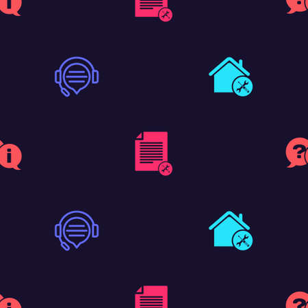 Set House service, Headphones with speech bubble chat, File document and Question and Exclamation on seamless pattern. Vector.