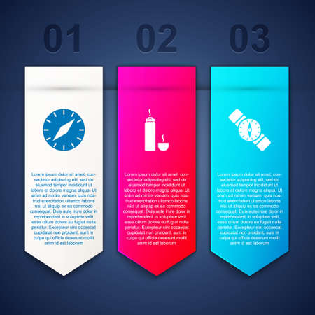 Set Compass, bottle container and Business infographic template. Vector