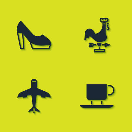 Set Woman shoe, Coffee cup, Plane and Rooster weather vane icon. Vector